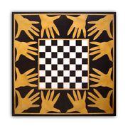 Black Marble Coffee Chess Table Top Precious Hands Inlay Stone Art Decorate B434