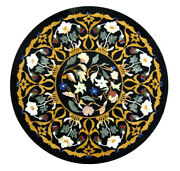 Black Round Marble Dining Table Marquetry Mosaic Floral Inlay Art Home Deco B438