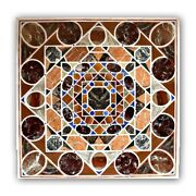 White Marble Dining Table Top Mosaic Rounds Inlay Handmade Art Living Decor B443
