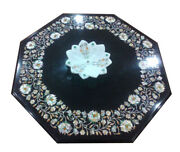 Black Marble Coffee/dining Table Top Precious Center Floral Inlay Art Decor B454