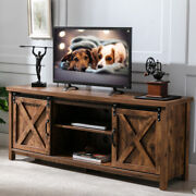 65and039and039 Tv Stand Sliding Barn Door Modern And Farmhouse Wood Entertainment Center