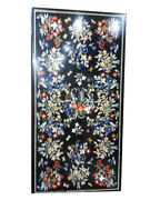 5and039x3and039 Black Marble Dining Table Top Marquetry Multi Floral Inlay Living Art B457