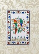 White Marble Dining Table Top Marquetry Lapis Bird Inlay Floral Art Decors H3832