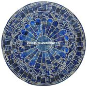 Precious Marble Lapis Lazuli End Table Top Inlay Design Art Decorated Work H3883