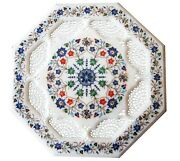 White Octagon Marble Coffee Table Top Lattice Lapis Floral Inlay Art Decors W042