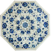 White Marble Coffee Top Table Lapis Marquetry Floral Inlay Stone Work Decor W045