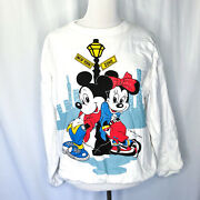 Vtg Mickey Mouse Disney All Over Print Reversible American Wear Sweat Shirt