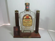 1955 Crown Royal 1/2 Gal Bottle On Wood Pouring Stand Small Booklet Included