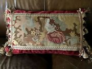 Lg Antique 19thc French Needlepoint Tapestry Pillow Woman Clarinet 30 X 18 Cover