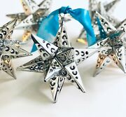 Punched Tin Stars Set 6 Estrellas Hanging Star Ornaments, Silver Finish