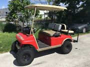 Club Car Ds Lifted 36v Golf Cart 4 Passenger Seat With Canopy Sound Bar