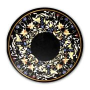 Black Marble Dining Table Top Precious Marquetry Floral Inlay Art Home Deco B430