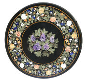 Black Marble Dining Table Top Precious Marquetry Floral Inlay Art Home Deco B461