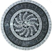 White Marble Dining Table Top Mosaic Inlay Stone Art Handmade Kitchen Deco H3802