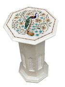 White Marble Coffee Table Top Precious Mosaic Arts Floral Inlay Home Decor W075a
