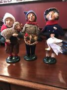Lot Of 3 Byers Choice Carolers Sheep, Rooster, Goose