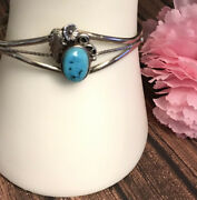 Southwestern Old Pawn Turquoise Cuff Bracelet Sterling Silver Vintage