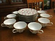 Vintage 16 Piece Lefton China 637 Hand Painted Rose Chintz Plate And Tea Cup Set