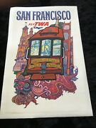 David Klein Orig.1960's San Francisco Cable Car Fly Twa Airline Travel Poster