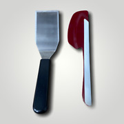 Pampered Chef Cranberry Red Silicon Stainless Steel Set Of 2 Scraper Spatula