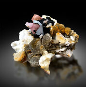 Pink Apatite Crystals With Tantalite Schorl And Albite Mineral Specimen - 349g