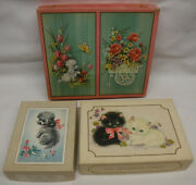 3 Vintage Kittens And Puppies Greeting Card Box Lot All Empty 1950and039s 1960and039s