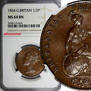 Great Britain Victoria Copper 1854 1/2 Penny Ngc Ms64 Bn Nice Toned Km726 014