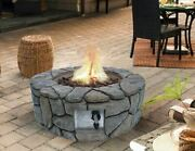 Outdoor Fire Pit Round Gray Faux Stone Propane Gas Patio Backyard Heater W Cover