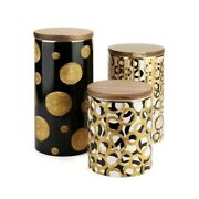 Jessie 3 Pc Modern Ceramic Food Storage Canisters Containers Bamboo Airtight Lid
