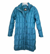 The Metropolis Down Hooded Puffer Parka Coat Teal Blue Womenand039s Medium