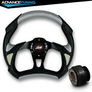 Fit 32cm Black Silver Pvc Leather Battle 6 Hole Steering Wheel And Hub Adapter Jdm