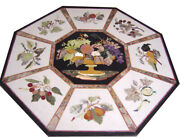 Black Marble Dining Table Mosaic Flower Basket Floral Inlay Outdoor Decors B476