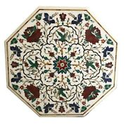 White Marble Dining Table Top Carnelian Mosaic Floral Inlay Art Home Decors W064