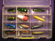 Heddon / Rebel Topwater Assortment - 12 Lures In Clear Tackle Box - New
