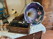 Antique Edison Home Phonograph W/ Stand And Morning Glory Large Horn We Ship