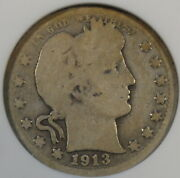 1913-s Barber Quarter 25c Anacs Certified G4 Old Small Holder Solid Coin