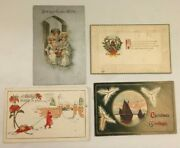 Vintage Lot Of 4 Merry Christmas Greetings New Years Wishes Holiday Postcards