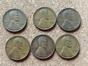 193619351934193719381939 Lincoln Wheat Cent Lot Of 6 No Mint Markings