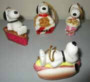 Peanuts Snoopy Lot Hot Dog,french Fries,root Beer,pie Food Christmas Ornament