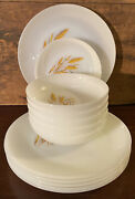 Anchor Hocking Glass Fire King Wheat Dinner Plate And Soup Bowl 12 Piece Set