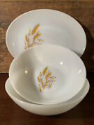 Anchor Hocking Fire King Wheat Oval Platter And Vegetable Serving Bowl 3 Piece Set