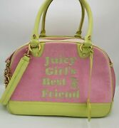 Juicy Couture Tote Pink Pet Dog Travel Carrier Authentic Rare Best Friend Green