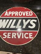 Original 1950andrsquos Porcelain Willys Approved Service Enamel Sign Size 20andrdquo