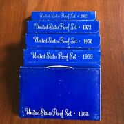 Lot Of 5 Us Proof Sets 1968, 1969, 1970, 1972 And 1983 With Boxes