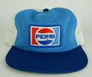 Vintage Pepsi Patch Two-tone Blue Cola Snapback Trucker Hat Mesh Polyester M