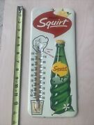 Vintage 1963 Enjoy Squirt Soda Embossed Thermometer Rare Version