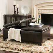 Alfred Faux Leather Medium Storage Ottoman Bench By Brown Large