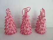 3peppermint Candy Christmas Ornaments/decor- Red And White Ribbon-hang Or Sit 🎄
