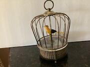 Japan, Vintage Wind-up Singing Bird In A Cage Music Box Called Tokyo Pigeon