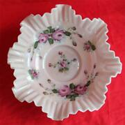Victorian Glass Brideand039s Basket Hand Painted Roses On Pink Luster Ruffled Edges